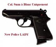 Pistolet new police lady bronze  Cal. 9mm à blanc uniquement