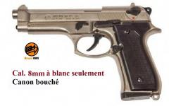 Pistolet BERETTA  Nickelé Chrome à blanc   Mod 92  Cal. 8mm