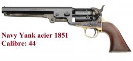 Revolver à poudre noir   Navy Yank acier 1851 Cal. 44