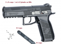 Pistolet GBB CZ P-09  Duty Co2  Cal. 4.5 mm Plombs diabolo ou BBS
