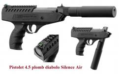 Pistolet Silence Air  Cal. 4.5 mm Plombs diabolo