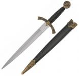 Dague Templière doré avec fourreau  de 34 cm
