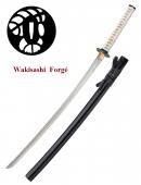 Wakisashi pratical forgé Lame trempé couleur noir et blanc