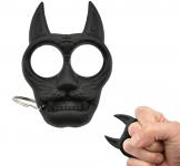 Poing Américain porte clé tête de chat noir en ABS